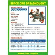 Space Ork Dreadnought Vehicle Data Card from Warhammer 40,000 2nd Edition